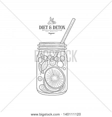 Fruit Smoothie In A Jar Hand Drawn Realistic Detailed Sketch In Classy Simple Pencil Style On White Background