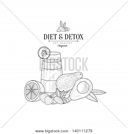 Fresh Vegetables, Fruits And Juice Hand Drawn Realistic Detailed Sketch In Classy Simple Pencil Style On White Background