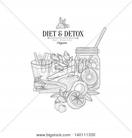 Set Of Vegan Diet Food Hand Drawn Realistic Detailed Sketch In Classy Simple Pencil Style On White Background