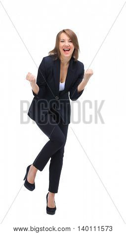 Beautiful happy young business woman isolated on white backgroun