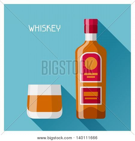 Bottle and glass of whiskey in flat design style.