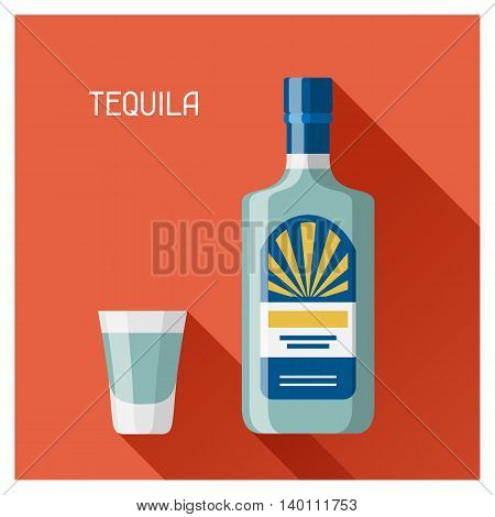 Bottle and glass of tequila in flat design style.