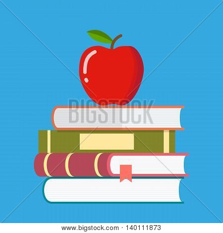 Red apple on a pile of books. education symbol. vector illustration in flat style on blue background