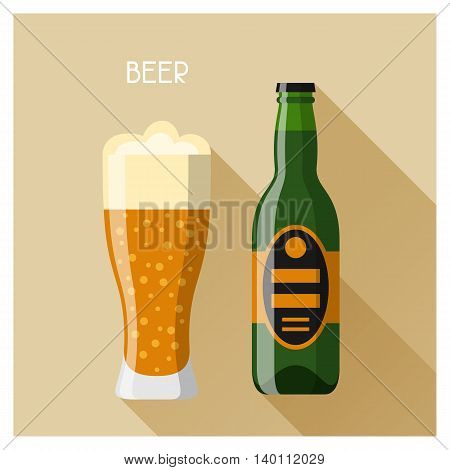 Bottle and glass of beer in flat design style.
