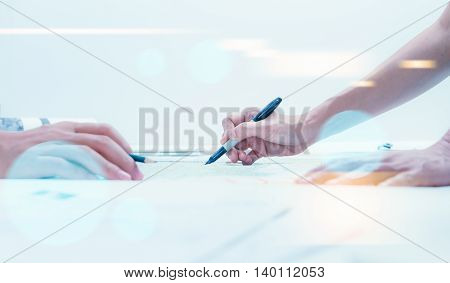 Businessman Sign A Contact Document On Desk After Discuss Agreement At Meeting Room, Business Conten