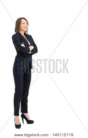 Full-length profile of businesswoman  isolated on white.
