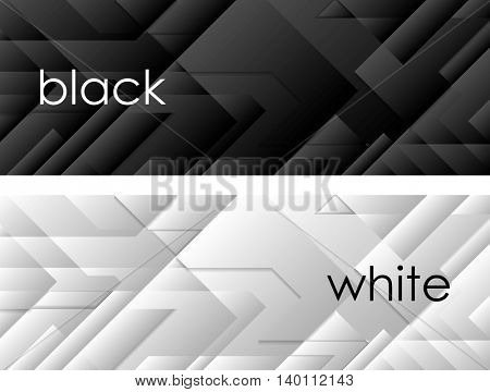 Black and white tech geometric banners. Vector header graphic design
