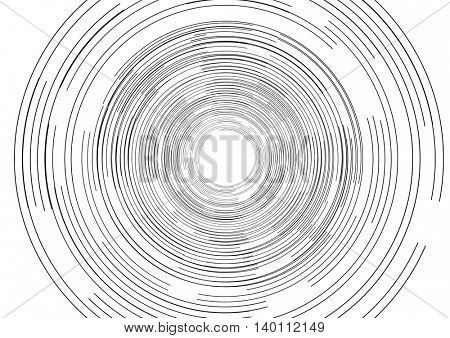 Black round tech circles outline drawing design. Vector background