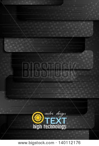Abstract black grunge striped graphic background. Vector template flyer dark design