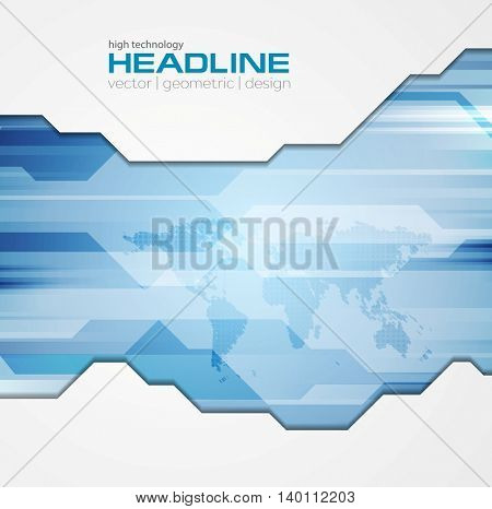 Abstract blue tech corporate background. Vector bright geometric design