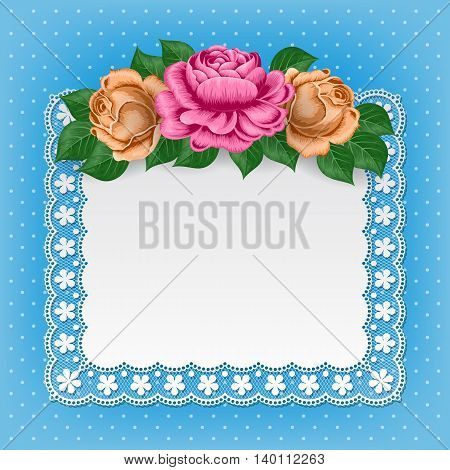 Vintage background with hand drawn roses and lace doily on polka dot background. Greeting card invitation template. Illustration in retro style. Vector