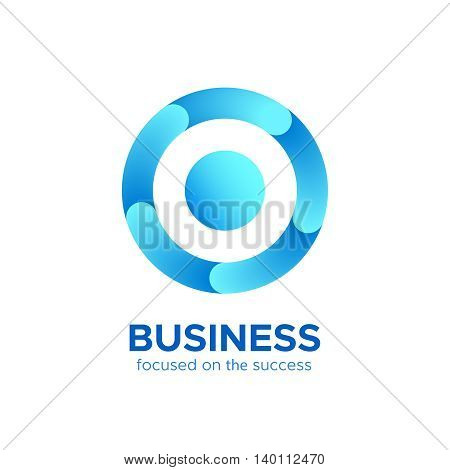 Blue circle target or round loop sign with center point vector logo design concept. Modern geometric abstract cycle icon isolated on white background