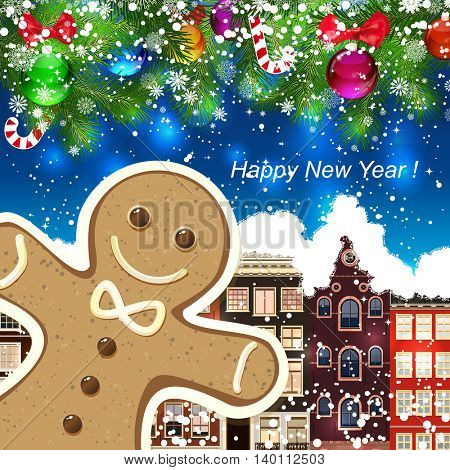 Gingerbread man on the background of snow-covered streets. New Year design background. Falling snow.  Holiday illustration with place for text.