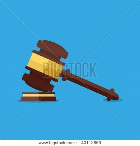 Wooden judges gavel. Justicce and law. vector illustration in flat design on blue background