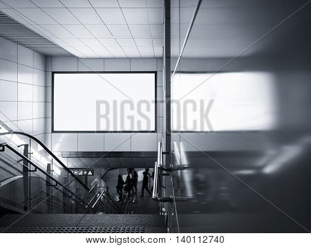 Billboard Banner Blank signage Media display in subway with stairs escalator