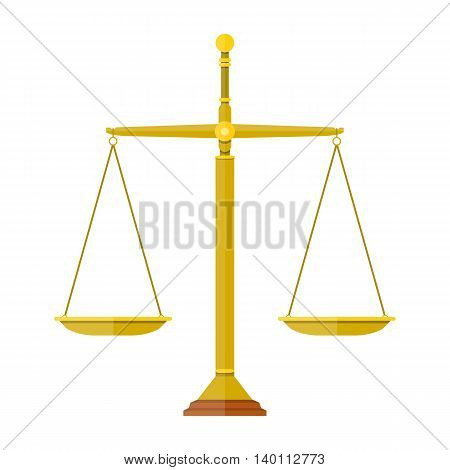 empty metallic scales isolated on white background. scales of justice. vector illustration in flat design