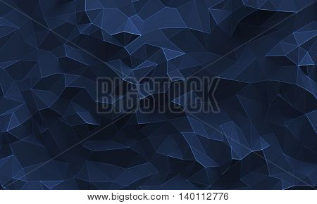 Abstract textured modern dark blue polygonal wall background