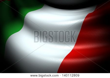 3D illustration of Flag of Italy in the dark with brightness spot