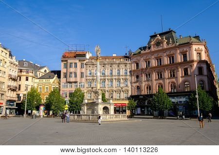 Brno, Czech Republic - April 30, 2016: People visit Freedom Square in old city at sunny day