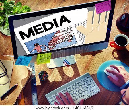 Media Digital Internet Communication Information Concept