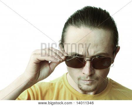 Angry man in dark glasses