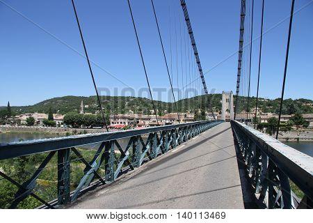 Bridge over Ardèche river at city Saint Martin, France