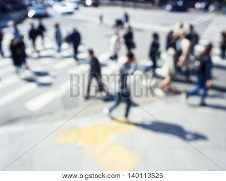 People walk on street movement cross intersection Abstract Blur background