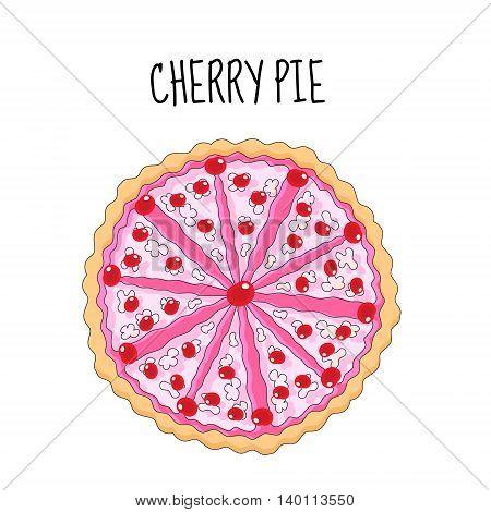 Cherry cake birthday cake. Baking with cherries. vector illyustration