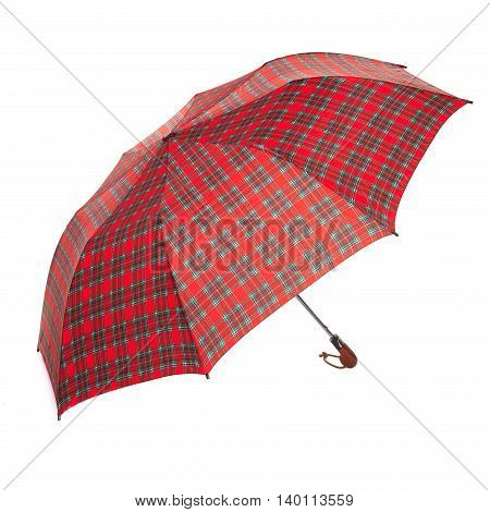 The red checkered umbrella isolated against white background