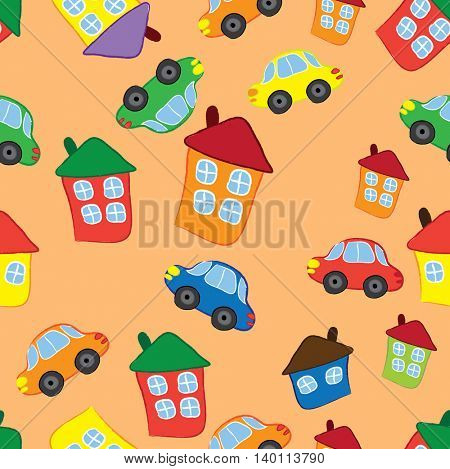 Seamless pattern cartoon cars and homes.