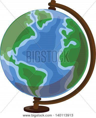 Cartoon globe, vector illustration for school background