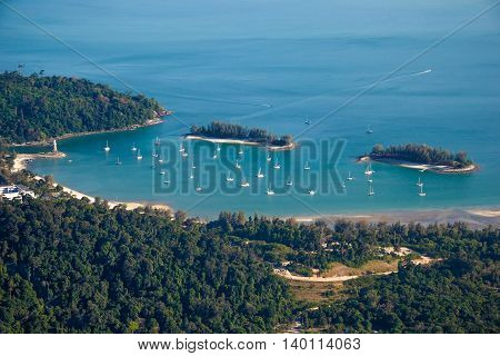 Photo of the Langkawi landscape with yachts, top view