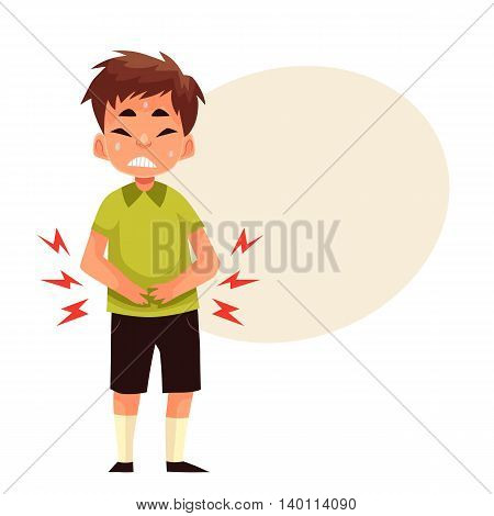 Boy having stomach ache, cartoon style vector illustration isolated on white background. Little boy having ache in his tummy, pressing hands to his abdomen, sad and sweating