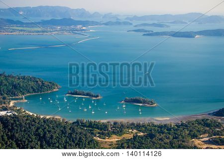 Photo of the Langkawi landscape with islands, top view