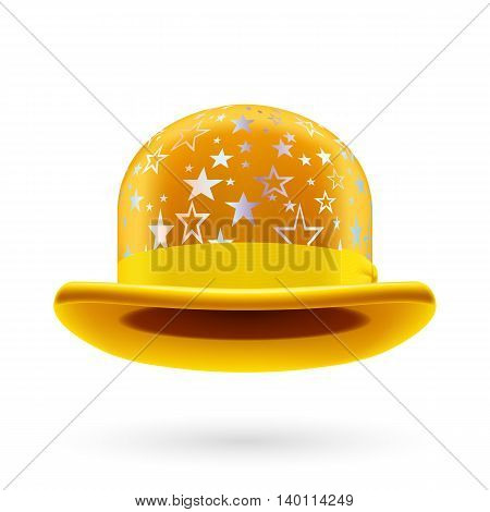 Yellow round bowler hat with silver glistening stars.