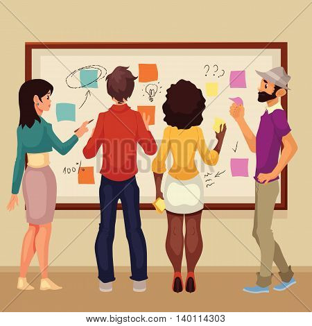 Young creative business people brainstorming ideas at the board, sketch style vector illustration. Multiethnic group of young people hold a brainstorm standing at the board and using sticky notes