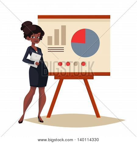 African Businesswoman giving presentation with a board, sketch style vector illustration isolated. Confident black female manager and flip chart with pie graph and infographic elements