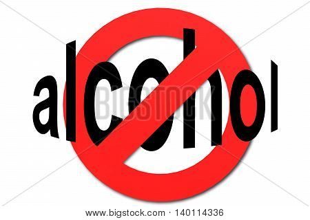 Stop Alcohol Sign In Red