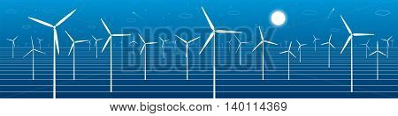 Ecology panorama, mountains landscape, windmills, wind force, energy illustration, vector design art