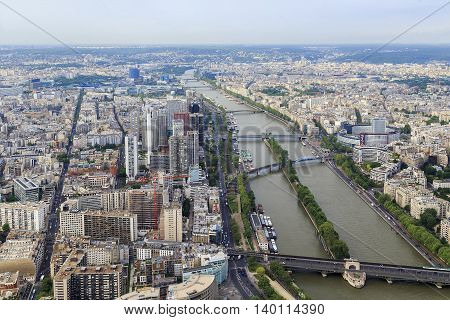 PARIS, FRANCE - MAY 12, 2015: This is an aerial view of modern part of town near Eifel Tower.