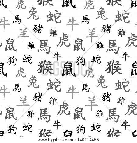 Chinese zodiac symbols, black hieroglyphs on white, seamless pattern
