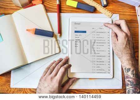 Tablet Emails Book Workspace Concept