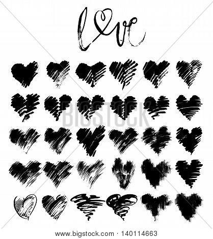 Vector doodle hand-drawn grunge black hearts set, hand drawn heart symbols