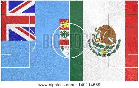 Flags of countries participating to the football tournament. Football field textured by Fiji and Mexico national flags.3D rendering