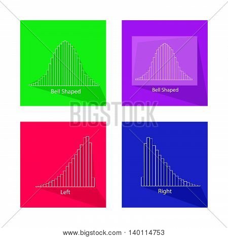Flat Icons Illustration Set of Gaussian Bell Chart or Normal Distribution Curve and Not Normal Distribution Curve.