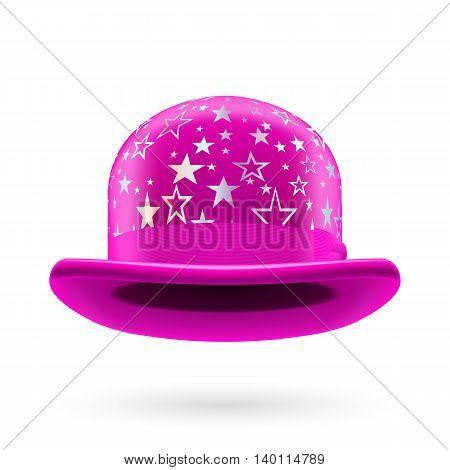 Magenta round bowler hat with silver glistening stars.