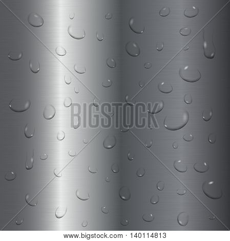 Transparent water drops on brushed steel background. Vector illustration