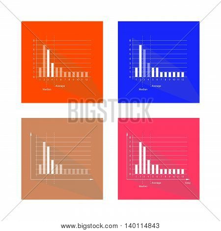 Illustration Set of Bar Chart Fat Tailed and Long Tailed Distributions Chart Label.