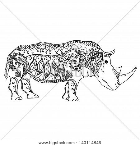 Drawing zentangle inspired rhino for coloring page, shirt design effect, logo, tattoo and decoration.