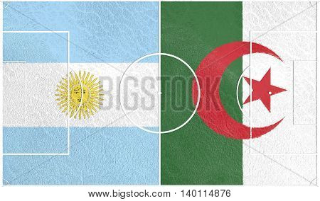 Flags of countries participating to the football tournament. Football field textured by Algeria and Argentina national flags. 3D rendering
